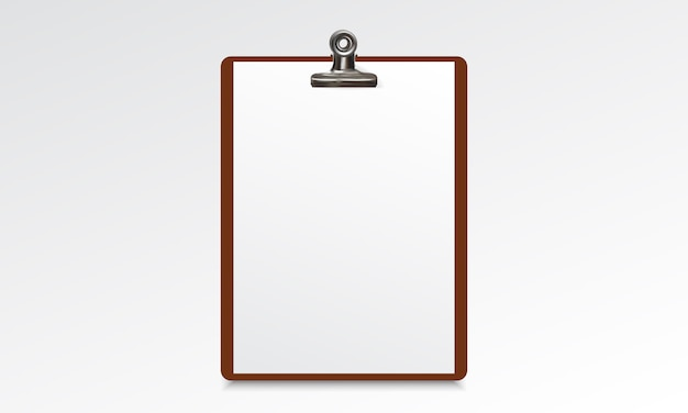 Wood clipboard with blank paper sheet Premium Vector