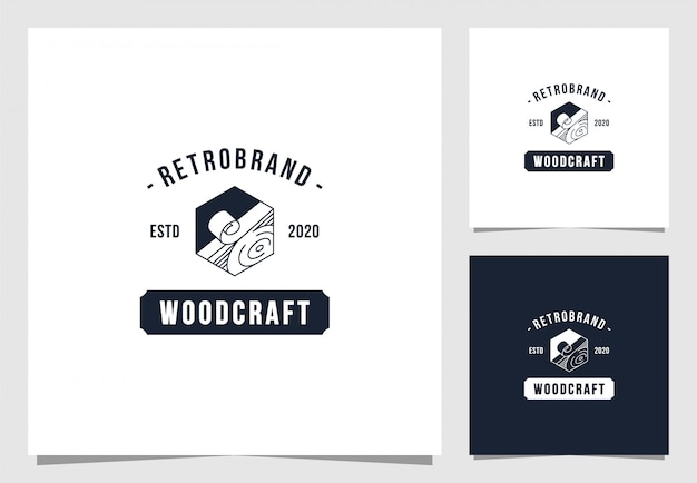 Wood craft logo in vintage style Premium Vector
