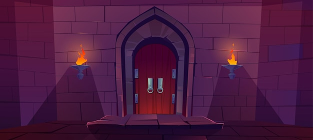 Wood door in medieval castle. old gate in stone wall with flaming torches at night. Free Vector