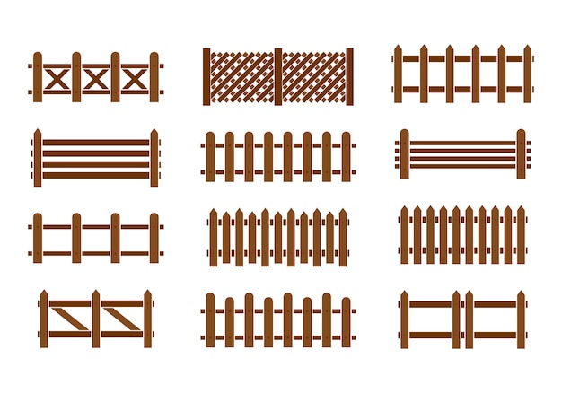 Wood fence set. different designs of fences and walls. Premium Vector