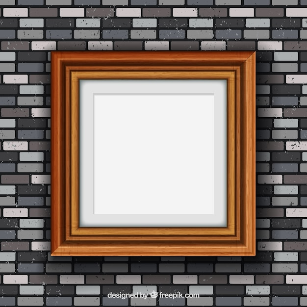 Brick Vector Picture Brick Veneers: Wood Frame On Brick Wall Vector