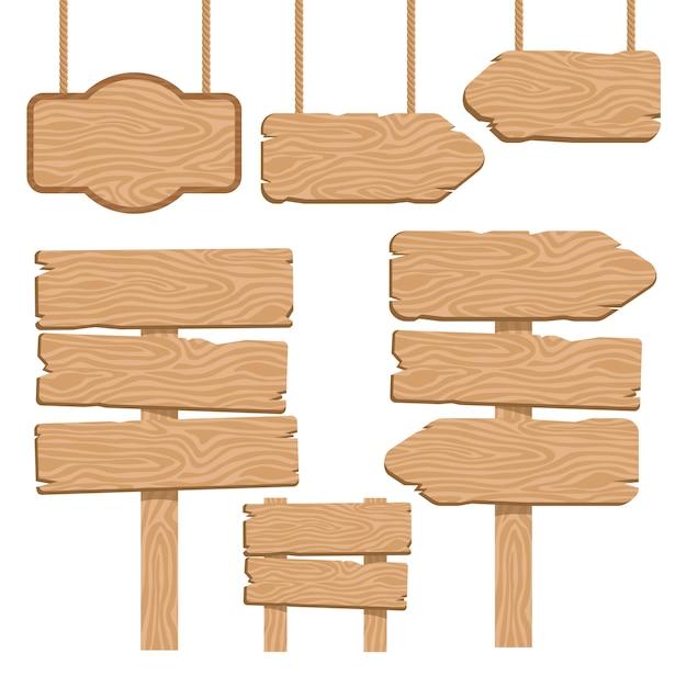 Набор декоративных элементов из дерева Бесплатные векторы
