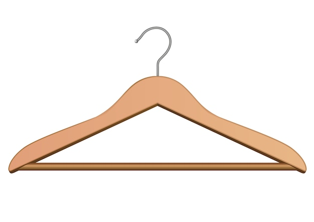 服のための木製ハンガー。白で隔離されています。 Premiumベクター