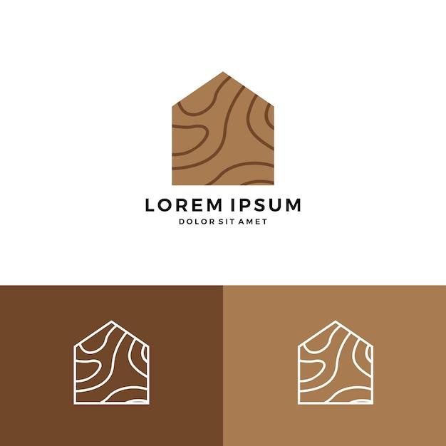 Wood House Home Grain Timber Lumber Logo Icon Premium Vector