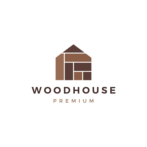 Wood house timber panel wall facade decking wpc vinyl hpl logo  icon Premium Vector
