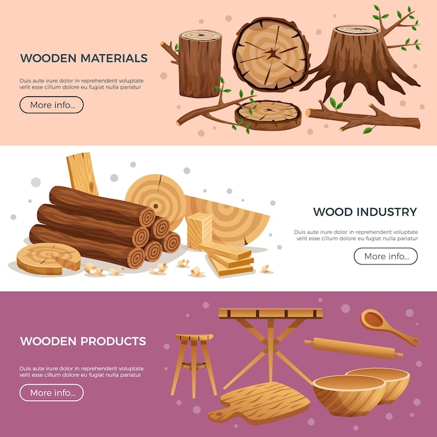 Wood industry 3 horizontal banners web page  with kitchen utensils manufactured out ecological material Free Vector