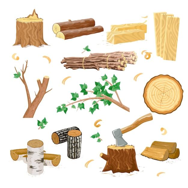 Wood industry icons Premium Vector
