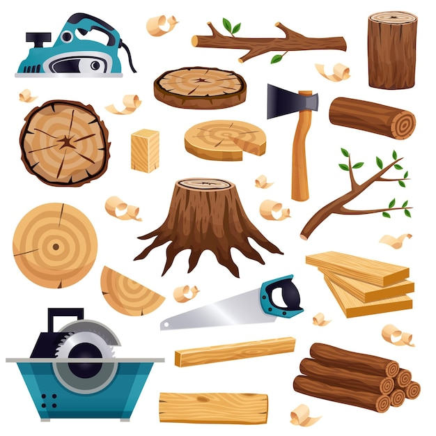 Wood industry material tools and production  flat set with tree trunk logs planks saw axe Free Vector