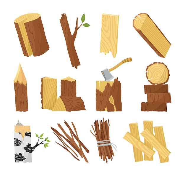 Wood industry raw material and production samples flat set with tree trunk logs planks door vector illustration Premium Vector
