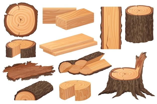 Wood industry raw materials illustration Premium Vector