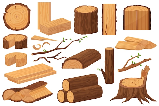 Wood industry raw materials. realistic production samples collection. Premium Vector