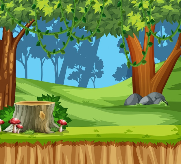 Wood land scape scene Free Vector