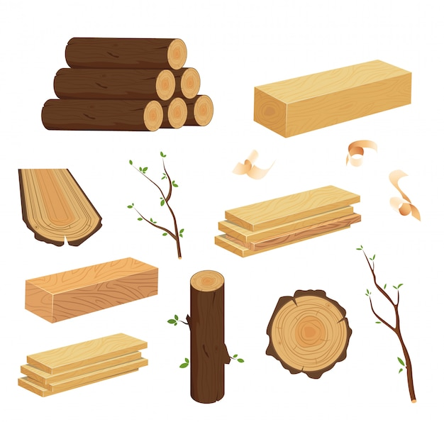 Wood log and trunk, stump and plank. set of woodpile, brushwood, firewood hut, stacks wooden logs. Premium Vector