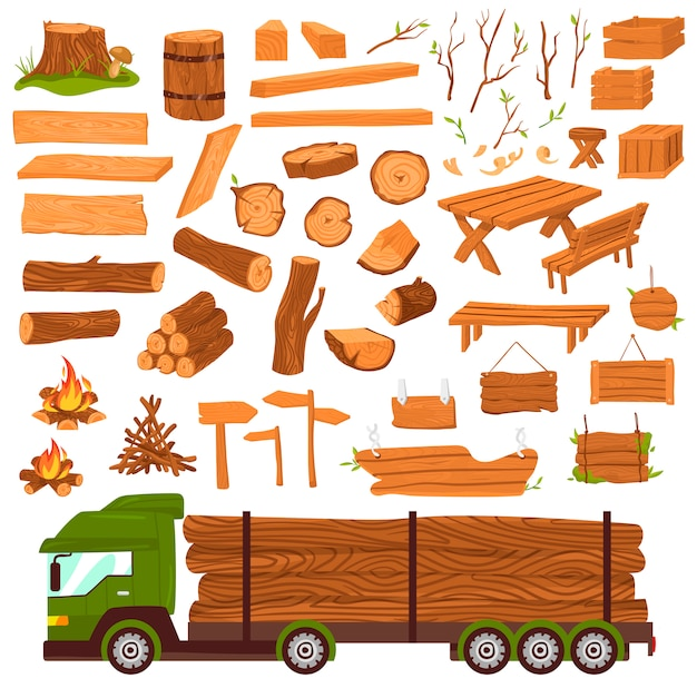 Wood logs, timber industry, wooden materia production, lumbers  set with tree trunk, planks saw  illustration  on white. Premium Vector
