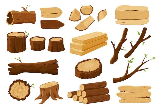 Wood logs, tree stumps and lumber wooden elements. Premium Vector