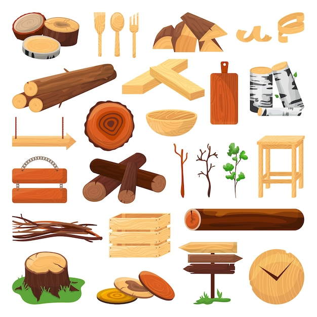 Wood logs, trunks and planks set of  ilustration. wood timber materials, wooden cuts, planks, twigs and kitchen utencils. firewood, stack of pine. natural branches for fuel, carpentry. Premium Vector