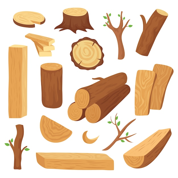 Wood logs and trunks set Premium Vector