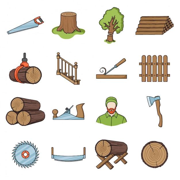 木材漫画セットアイコンの木材 Premiumベクター