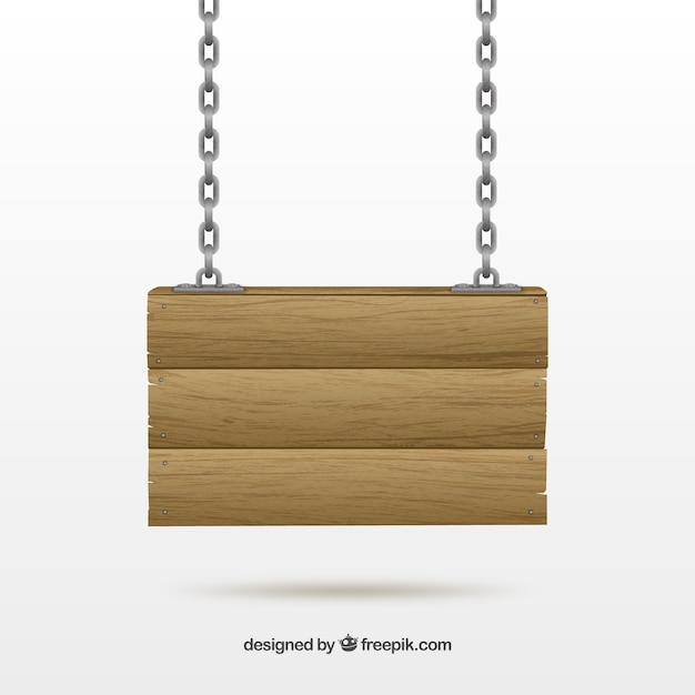 Wood sign hanging on a chain Free Vector