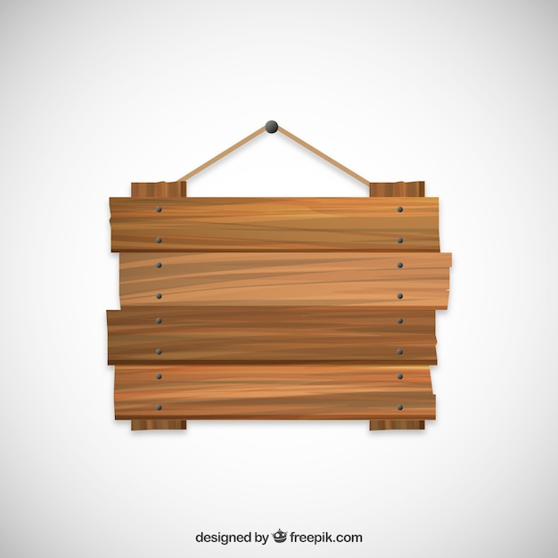 Wood sign hanging on a rope Free Vector