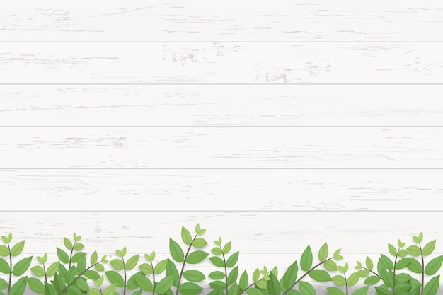 Wood texture and green leaves. Premium Vector