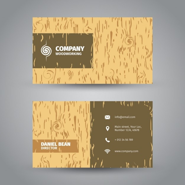 Wood Textured Business Card Vector