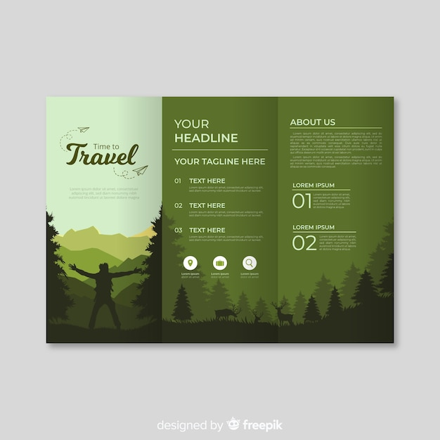 Wood travel trifold brochure Free Vector