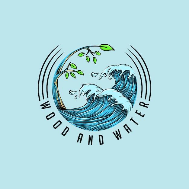Wood water logo combine Premium Vector