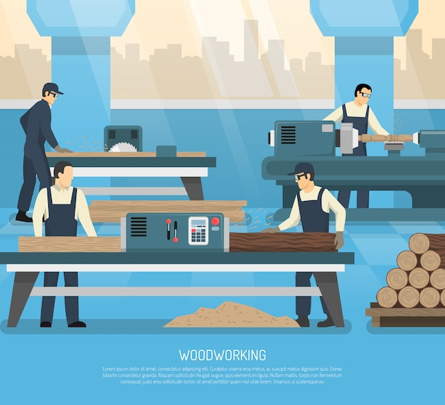 Wood works flat composition Free Vector
