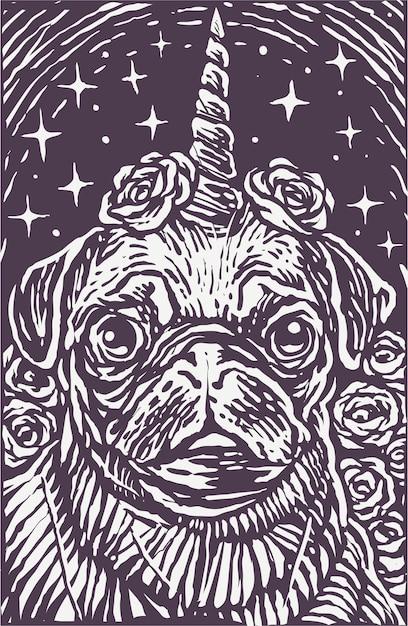 Woodcut style pug dog unicorn poster background Premium Vector