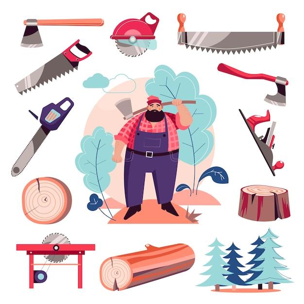 Woodcutter lumberjack and vector tools Premium Vector