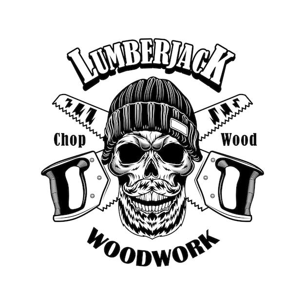 ウッドカッターベクトルイラスト。ビーニーハット、交差したのこぎり、木工テキストのスケルトンの頭。木こりの仕事や工芸品のコンセプトのロゴ 無料ベクター