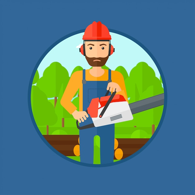Woodcutter with chainsaw. Premium Vector
