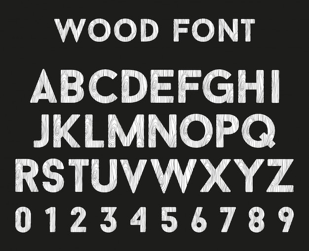 Wooden alphabet with letters and numbers Premium Vector