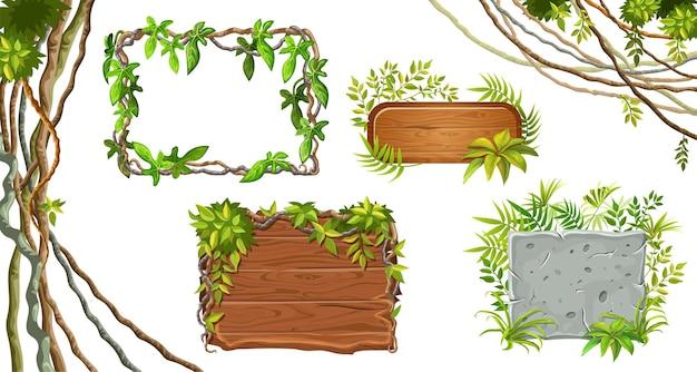 나무와 석재 보드. 리아나 잎. 무료 벡터