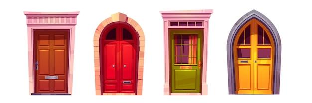 흰색 배경에 고립 된 돌 출입구와 나무 아치 정문. 집 입구, 빨강, 녹색 및 노란색 닫힌 된 문 손잡이와 창문의 만화 세트. 건물 외관 요소 무료 벡터
