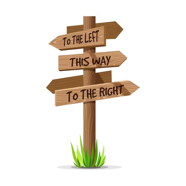 Деревянная вывеска направления стрелки. деревянная концепция столба знака с травой. указатель доски Premium векторы