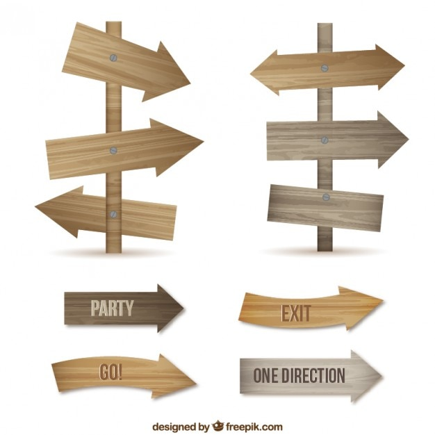 Wooden Arrow Signs Vector Free