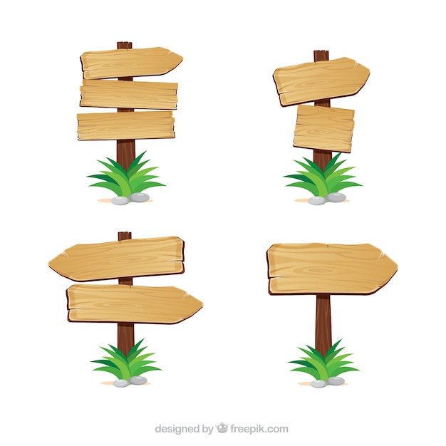 Wooden arrows indications Free Vector