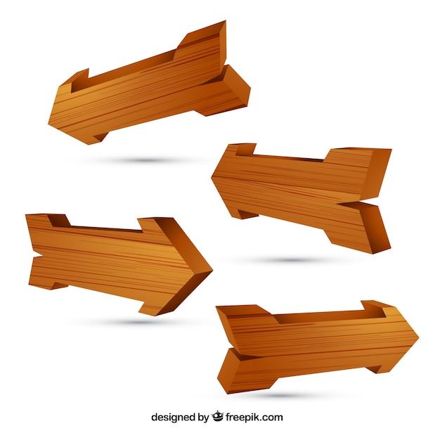 Wooden Arrows Premium Vector