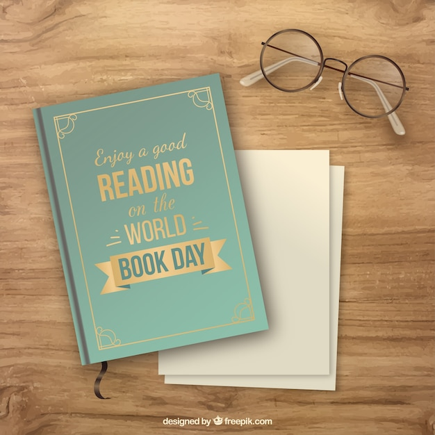 Wooden background with book and glasses in realistic style Free Vector