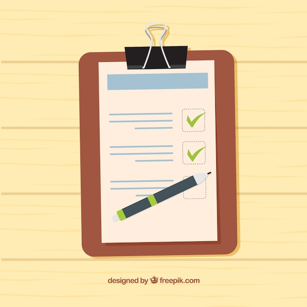 Wooden background with clipboard and checklist Free Vector