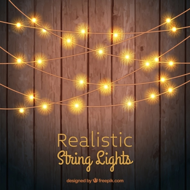 wooden background with string lights vector premium download. Black Bedroom Furniture Sets. Home Design Ideas