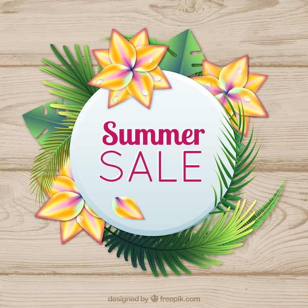 Wooden background with summer sale\ sticker