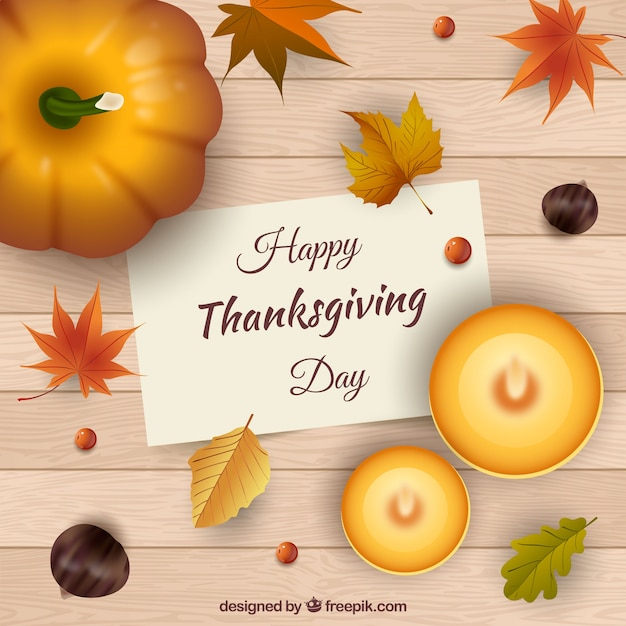 Wooden background with thanksgiving note