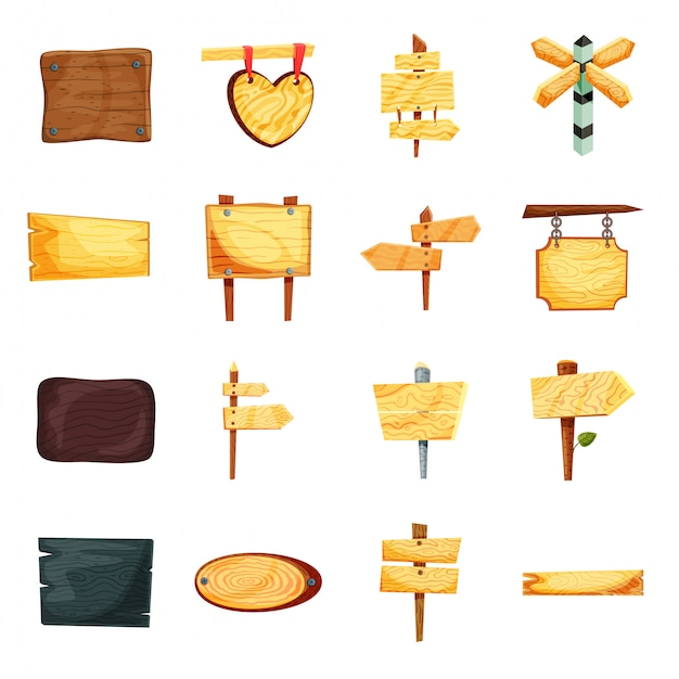 Wooden banner cartoon icon set Premium Vector