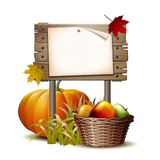 Деревянный баннер с оранжевой тыквой, осенними листьями и корзиной полных спелых яблок. иллюстрация праздник осеннего урожая или день благодарения. экологически чистые овощи. Premium векторы