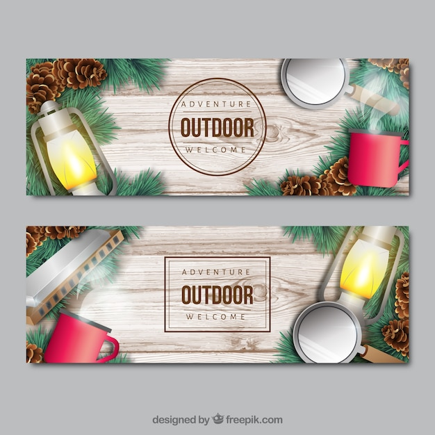 Wooden banners with adventure\ accessories