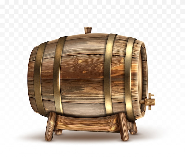 Wooden barrel for wine or beer or whiskey clipart Free Vector