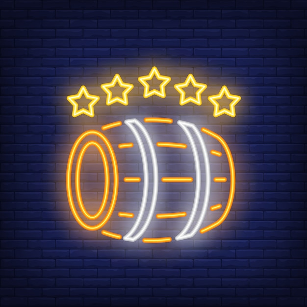 Wooden barrel with five stars neon sign Free Vector